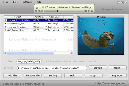 Lenogo Video to iPod Converter Build 007