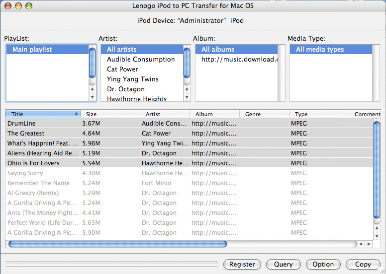 Lenogo iPod to PC Transfer for Mac