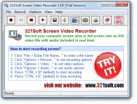 321Soft Screen Video Recorder 1.05.4 screenshot. Click to enlarge!