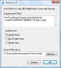 FontList 1.6 screenshot. Click to enlarge!