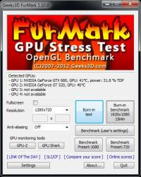 FurMark 1.19.0.0 screenshot. Click to enlarge!
