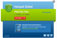 Hotspot Shield 2.90 screenshot. Click to enlarge!