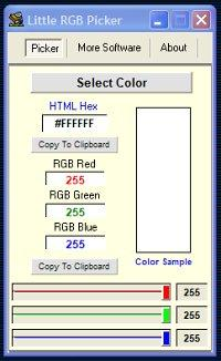 Little RGB Color Picker 3.0 screenshot. Click to enlarge!