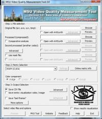 MSU Video Quality Measurement Tool 3.0 screenshot. Click to enlarge!