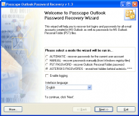Passcape Outlook Password Recovery 3.0.0.291 screenshot. Click to enlarge!