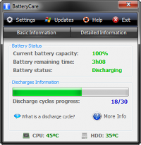 Portable BatteryCare 0.9.29.2 screenshot. Click to enlarge!