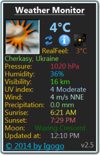 Weather Monitor 6.3 screenshot. Click to enlarge!